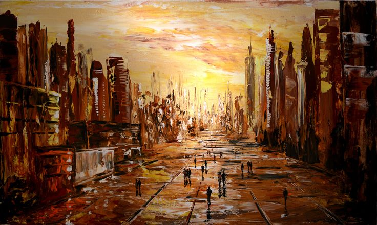 """60""""x 36"""" oil on canvas Cityscape contemporary  abstract impressionist   #original #paintings #cityscapes #abstract"""