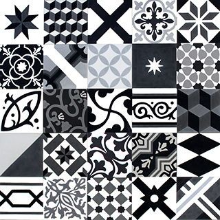 Moroccan cement tile - Sizes and how to order information can be found below  Size: - 20×20cm  Product details - Product code: Black-Grey-White - All tiles have the same dominant colour   Made of: - Cement, marble powder sekä inorganic pigments  Usage:  - Floor tiles 16mm - Wall tiles 12mm  Manufactured - Morocco  Price and package details: - 15 tiles/ 0.6m2 per box - Minimum order 1.8m2/ 3 box - Price per m2