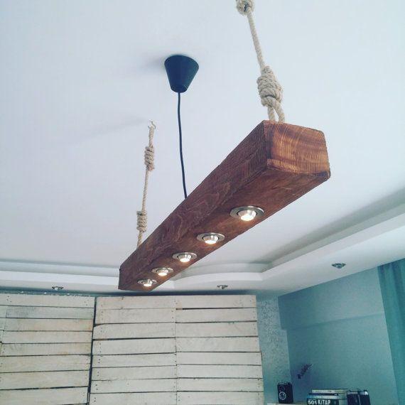 Eclairage rustique récupéré lustre en bois par RUSTANDDUSTDesign