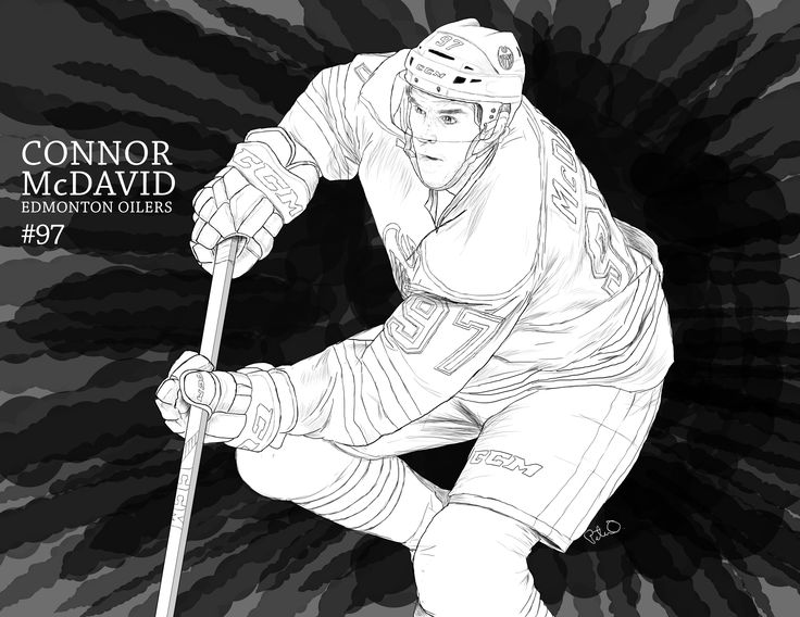 black and white illustration of Edmonton Oilers captain Connor McDavid. Done on Wacom Intuos Pro. #illustration #drawing #blackandwhite #oilers #McDavid #ConnorMcDavid #wacom