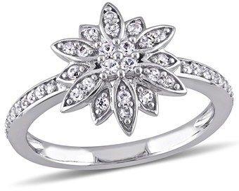Laura Ashley White Sapphire Flower Ring.