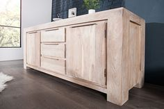 Sideboard MAKASSAR Akazie180cm Kommode Massiv Holz weiss gekälkt | Riess-Ambiente.de