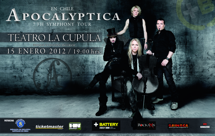Flyer Apocalyptica en Chile