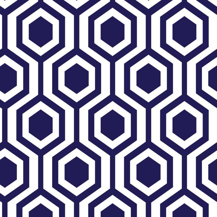 Navy Honeycomb Wallpaper | Katie Kime™