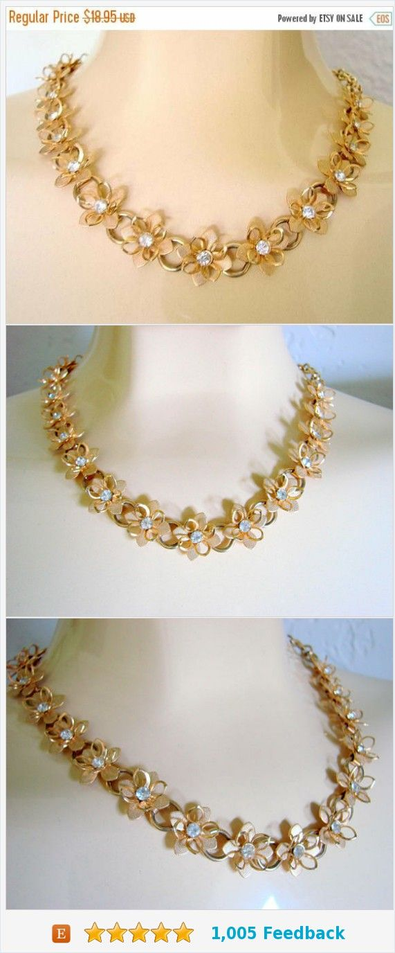 Fall Sale Vintage Rhinestone Floral Textured Gold Tone Necklace / Wedding / Bridal / Three Dimensional / Choker / Retro Jewelry / Jewellery https://www.etsy.com/JoysShop/listing/551229777/fall-sale-vintage-rhinestone-floral?ref=shop_home_active_27