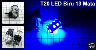 Lampu LED T20 7440 Warna Biru 13 Mata SMD 5050.