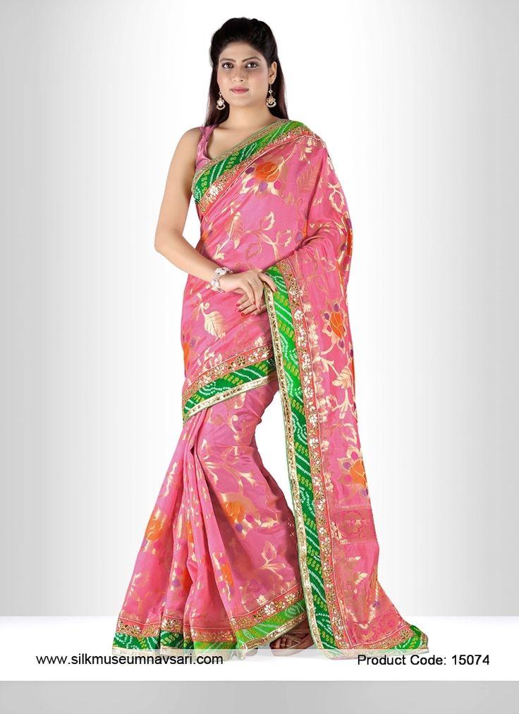 Exciting Hot Pink Banarasi Brocade Silk Designer Saree
