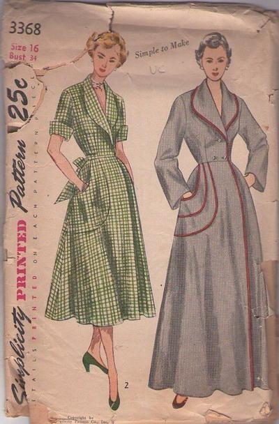 MOMSPatterns Vintage Sewing Patterns - Simplicity 3368 Vintage 50's Sewing Pattern GRAND Simple to Make Hollywood Starlet Dressing Gown, Sha...