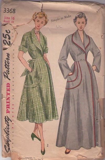 MOMSPatterns Vintage Sewing Patterns - Simplicity 3368 Vintage 50's Sewing Pattern GRAND Simple to Make Hollywood Starlet Dressing Gown, Sha...