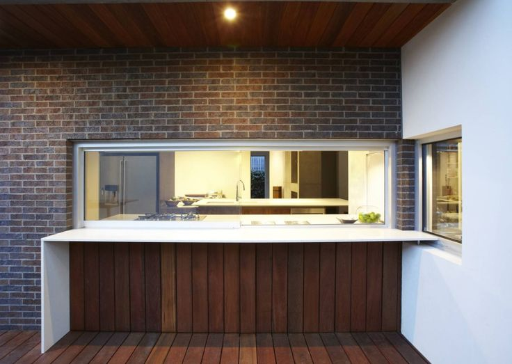 Servery. Note the extension of the patio flooring to up under the servery.