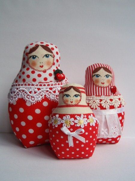 A Set of Red Polka Dots Soft Matryoshkas (cloth Russian babushka dolls). $25.00, via Etsy.