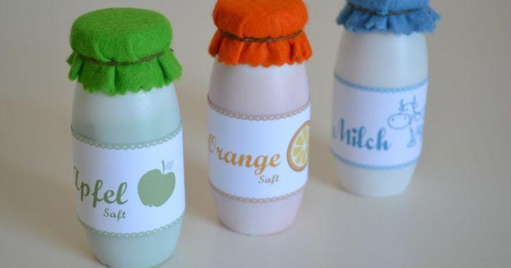 Getränke für den Kaufladen Milch Organge Saft Apfel Actimel Flaschen Anleitung