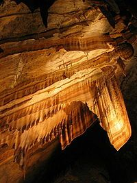 Suspended flowstone, Gunns Plains Cave, Tasmania, Australia.  Home of 'ribbon' stalactite.
