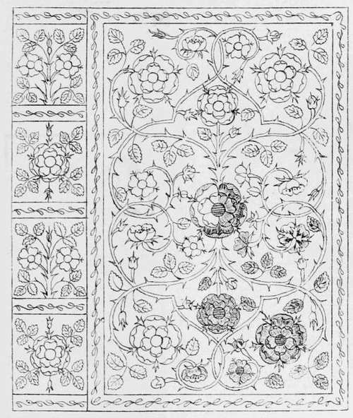 Queen Elizabeth's Bible. Detailed Drawing of Embroidery.