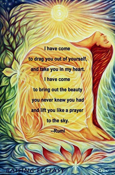 ~Rumi People often don't know that Rumi is writing about the relationship of humanity to divinity.  It often sounds like a romantic reference, but it's not only that, but about the ultimate force called LOVE.