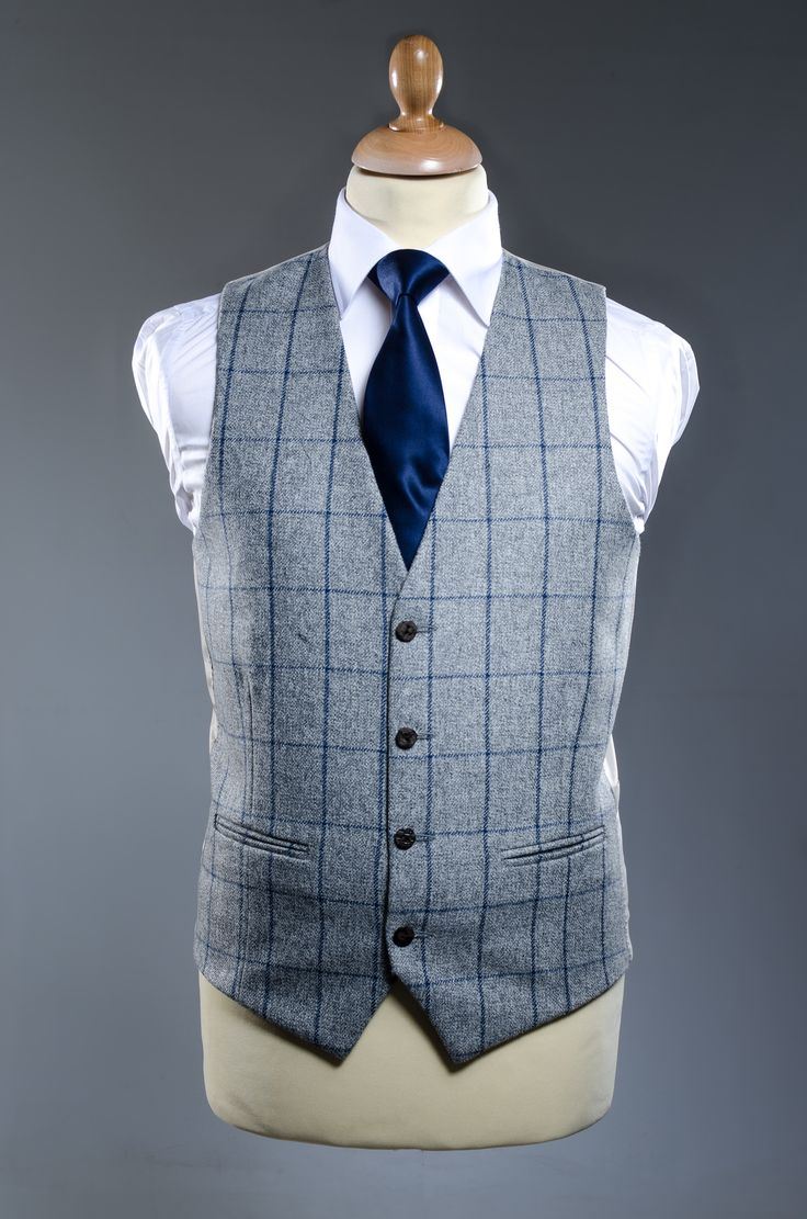 Silver Amp Blue Check Tweed Waistcoat Paired With Navy Satin