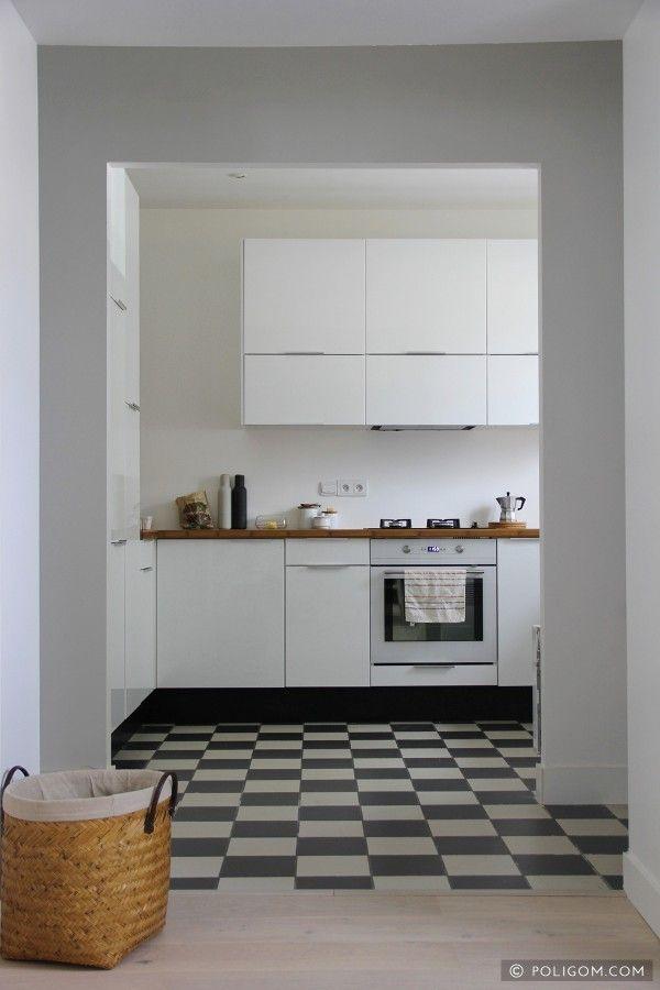 cuisine - sol - damier noir et blanc - pose droite