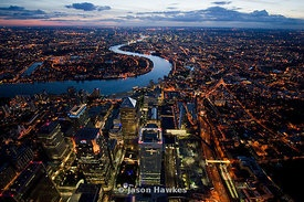 Dusk aerial view over Canary Whard Development, London