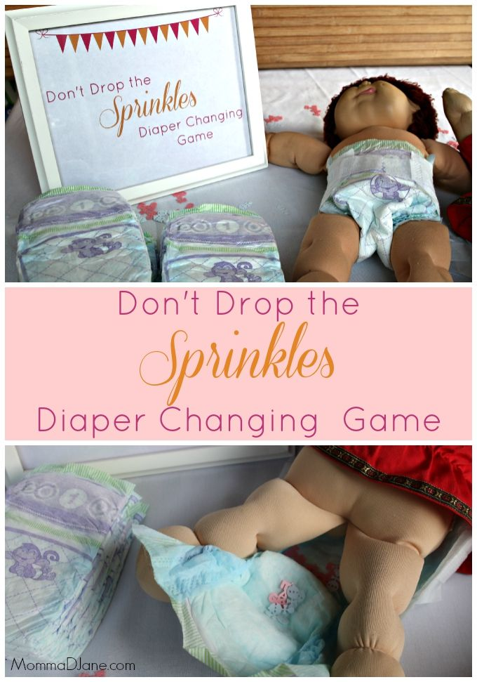 Don't Drop the Sprinkles Diaper Changing Game. Perfect for a baby sprinkle or baby shower.  Challenge guests to see who can change the confetti filled diaper the fastest without spilling!  #LuvsBabySprinkle #ad
