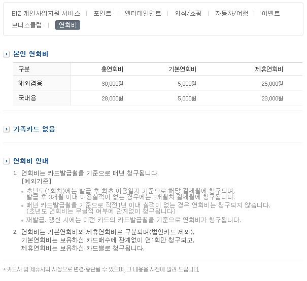 삼성카드 biz3의 연회비!