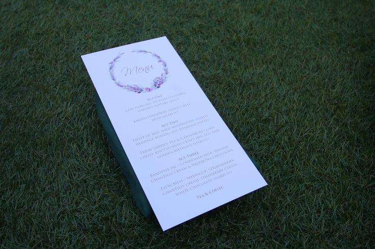 A pretty watercolour motif menu in lavender created by #novaweddingplanning
