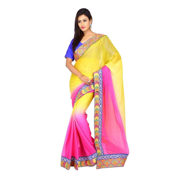 Indian Pink and Yellow Party Wear Crackle Chiffon Shaded Women Saree with Blouse #Milonee #NewDesignerSaree