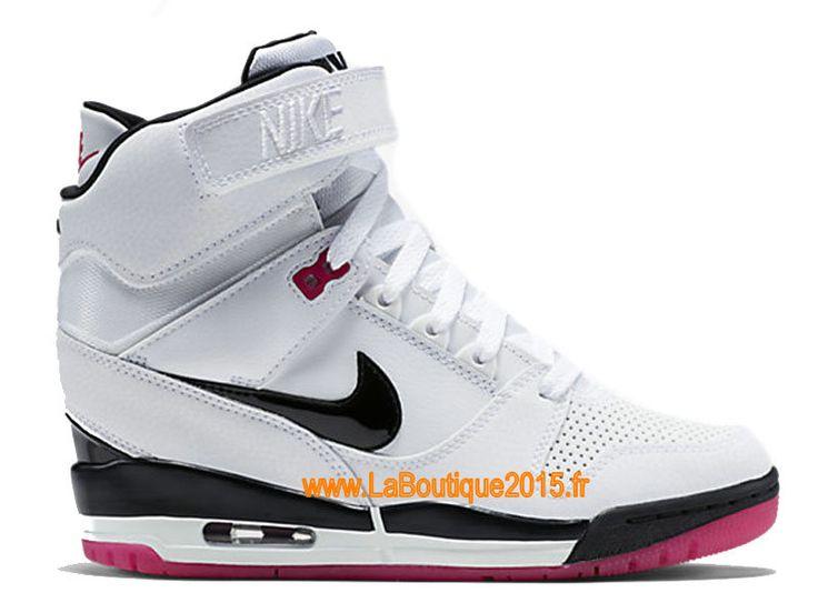 Nike Air Revolution Sky Hi GS Chaussures Montante Nike Pas Cher Pour Femme Blanc/Noir/Rose 599410-103
