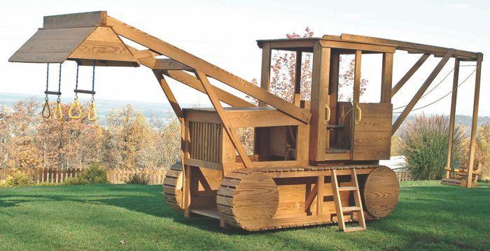 Wood Bulldozer Backhoe Playset