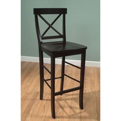 @Overstock.com - Easton Crossback 30-inch Barstool - This wood 30-inch bar stool is a beautiful, black, elegantly designed stool with a charming espresso finish. No matter what you use it for, the curved back and slightly indented seat make this bar stool not only stylish, but also comfortable.  http://www.overstock.com/Home-Garden/Easton-Crossback-30-inch-Barstool/5950384/product.html?CID=214117 $81.89