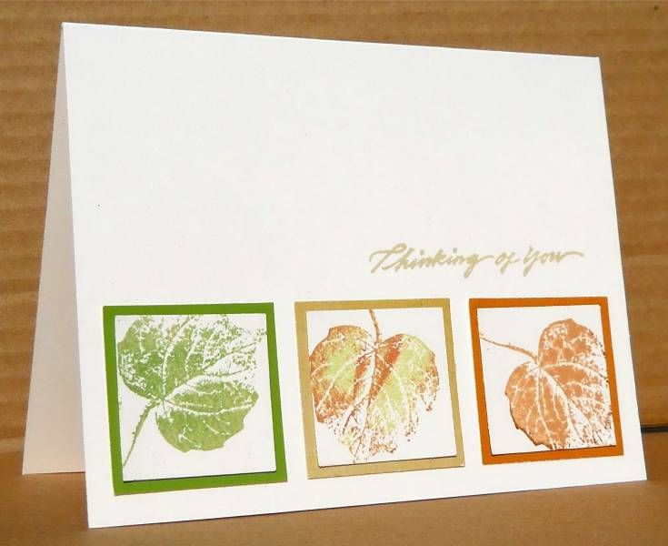 Clean and Simple thinking of you!Foliage Stamps, Su Clean And Simple Fall Cards, Colors, Cards Class, Simple Ink Stamped Cards, Rolls Stamps, French Foliage Cards, Leaf Stamped Card, Autumn Leaves Card