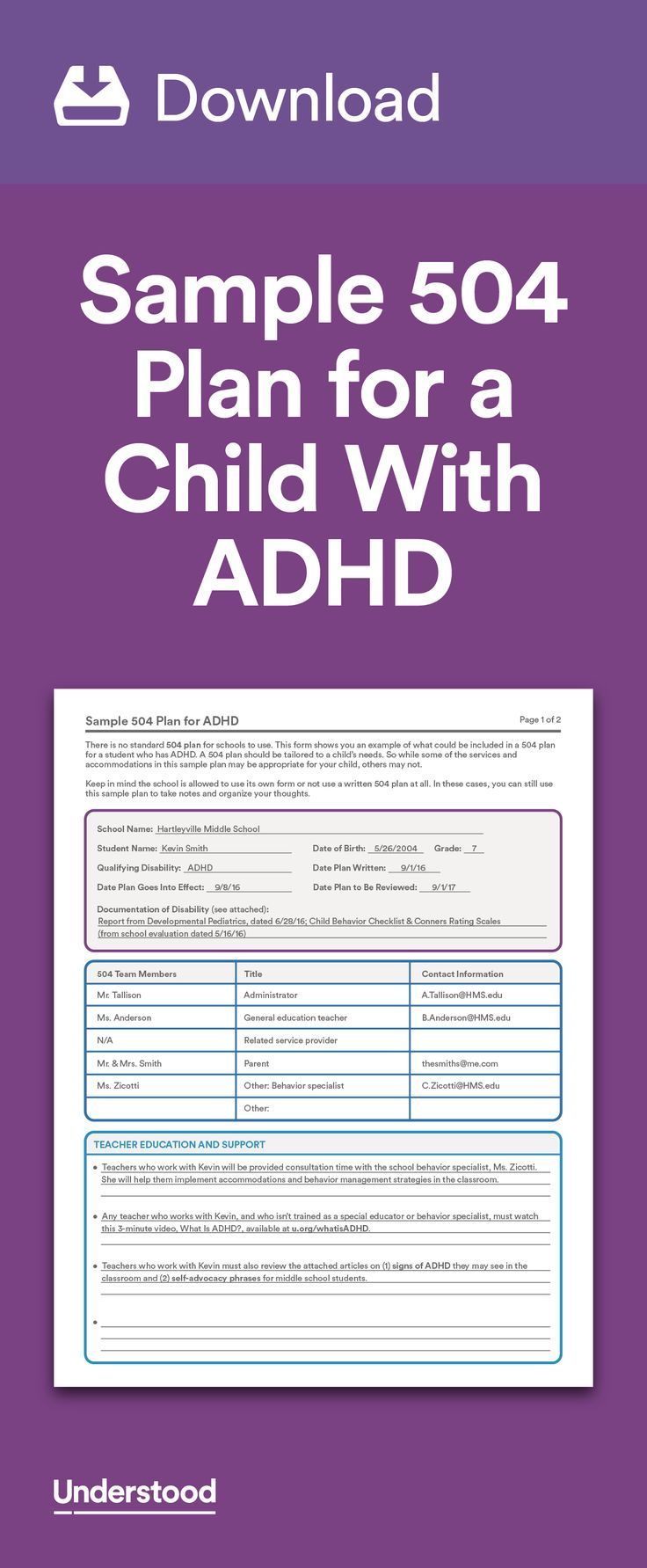 Download: Sample 504 Plan for a Child With ADHD | Behavior ...