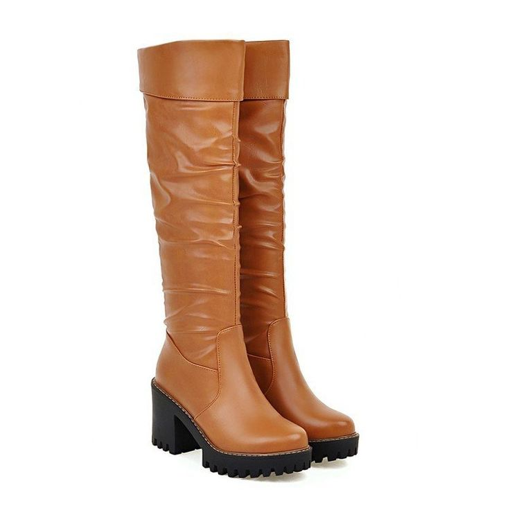 Women's Knee High Boots High Heels Thick Heeled Shoes 5759