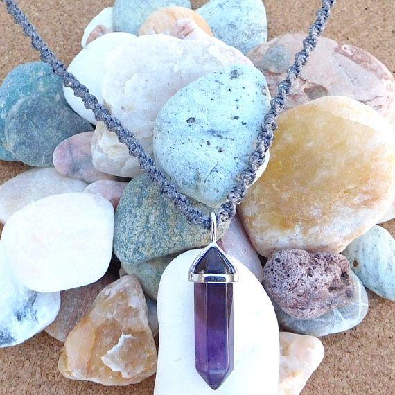 Crystal necklace, Crystal Pendant, Amethyst Pendant, Macrame Pendant, Purple Stone, Amethyst Necklace Gemstone, Semi Precious Stone,