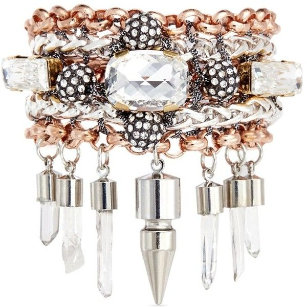 Assad Mounser 'Eno' mineral crystal spike bracelet ($435) ❤ liked on Polyvore featuring jewelry, bracelets, metallic, metallic jewelry, bracelet jewelry, multi chain bracelet, spike bracelet und bracelet bangle
