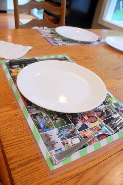 I love putting pictures all over the house.  What a fun (and cheap) idea for the kitchen table! Type Personalized Photo Placemats into the search box on the blog.