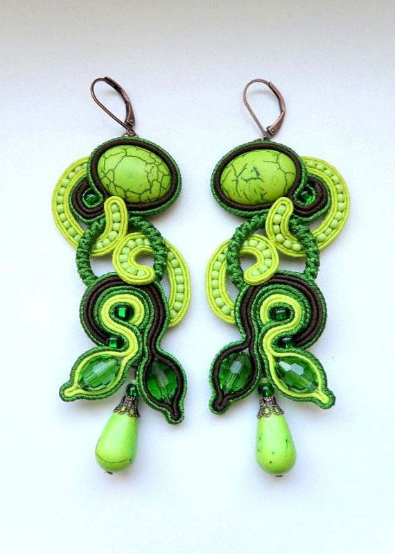 "Soutache earrings ""Liana"" long lime green Crystals and turquoise"