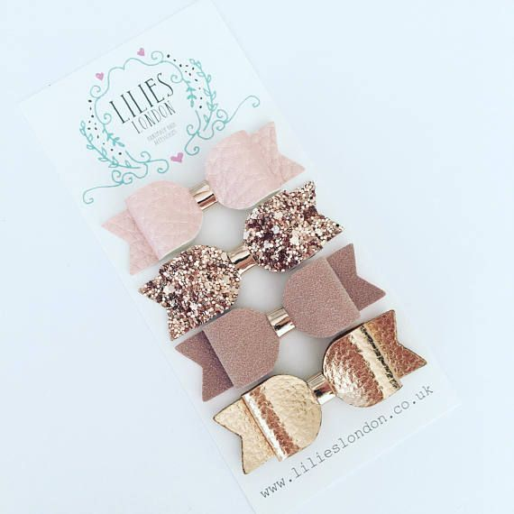 Rose gold bows small hair clips mini hair slides sparkly