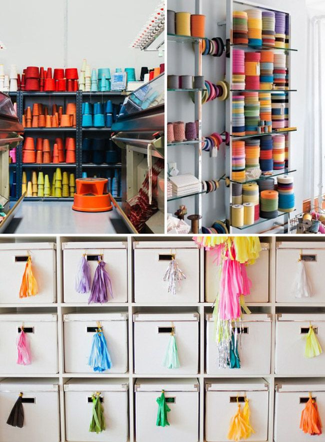 organizing studio supplies by colour - Put some yarn on outside of box.