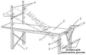 Разборная скамья для жимов лежа и упражнений на икроножные мышцы. Чертеж, эскиз, описание, материалы, размеры. Для самостоятельного изготовления.