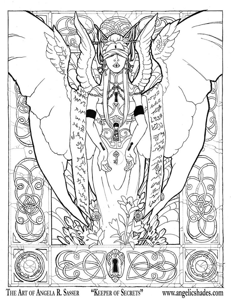 Keeper of Secrets Line Art by AngelaSasser.deviantart.com on @DeviantArt Download a free coloring book page of this image at the link! http://angelasasser.deviantart.com/art/Keeper-of-Secrets-Line-Art-244147020