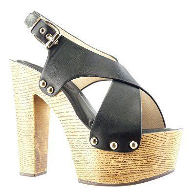 Angkorly - Scarpe da Moda zoccoli sandali zeppe donna borchiati metallico legno Tacco zeppa piattaforma 14 CM - Nero PN1567 T 40