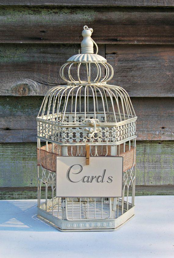 "Shabby Chic, Rustic, Wedding Decor, 18"" Bird Cage Card Holder, Wishing Well, or Decorative Centerpiece"