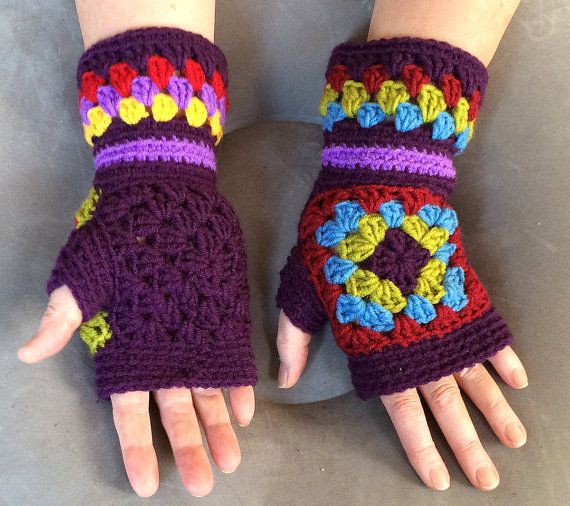Mittens Gloves crochet granny squares от YarnAndBeadsDesign