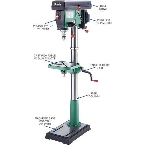 drill press quill. shop our g7947 - 12 speed 17\ drill press quill