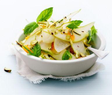 Recept: Päron, aprikoser och pistagenötter