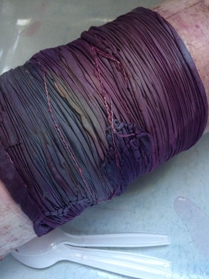 arashi shibori silk wrapped around a pvc pipe for dyeing with natural dyes at slowyarn.com