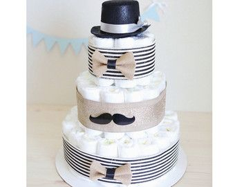 Little Man Mustache Diaper Cake for Baby Boy / by AngAngBabyUS