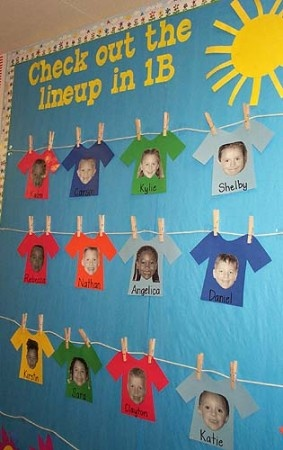 """Check Out the Lineup in ____ (teacher's name) Class!"" Using a T-shirt theme and hanging student shirts along a clothing line is a colorful idea for a Back To School bulletin board display."