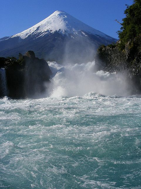 Petrohué Waterfalls with Osorno Volcano in the background, Los Lagos, Chile.