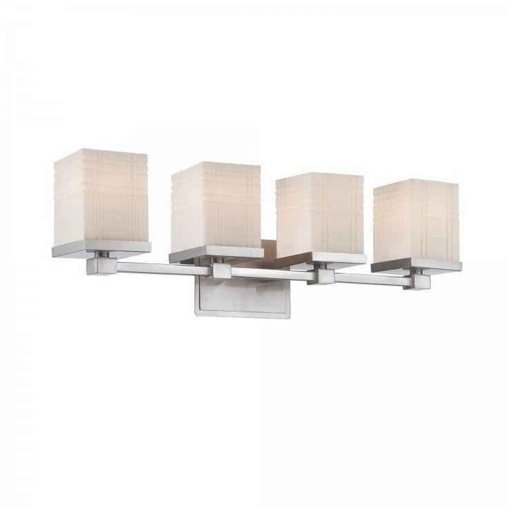 Bathroom Light Fixture 4-light Vanity Lights Chrome Finish Frosted Glass Shades  #LiteSource